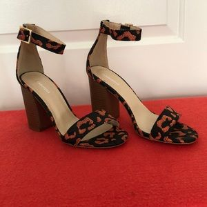 ASOS Black and Coral Leopard Print Chunky Heels